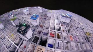 birds eye view of Ocado robots