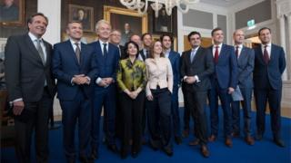 Dutch political party leaders including Party for Freedom (PVV) leader Geert Wilders (3-L) and Prime Minister Mark Rutte (7-L) pose for a group photograph with Speaker of the House of Representatives, Khadija Arib (5-L), as they attend a meeting of Dutch political party leaders at the House of Representatives to express their views on the formation of the cabinet, on 16 March 2017 in The Hague, Netherlands