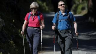 Theresa and Philip May during a walking outing to Switzerland in Aug 2016