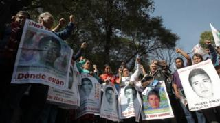 Parents and relatives of 43 missing Mexican students of the Ayotzinapa College participate in a rally in Mexico City, Mexico, 01 December 2015.