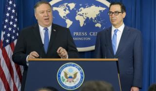 US Secretary of State Mike Pompeo and US Treasury Secretary Steven Mnuchin outline sanctions against Iran