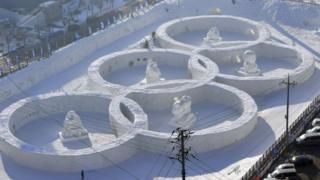 Olympic rings carved in snow in Hoenggye near the Winter Olympics site in Pyeongchang
