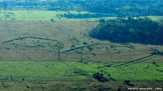 Vista aérea de los geoglifos en el estado brasileño de Acre