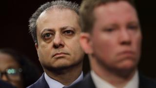Former United States Attorney for the Southern District of New York Preet Bharara attends the Senate Intelligence Committee where FBI Director James Comey is sent to testify in the Hart Senate Office Building on Capitol Hill June 8, 2017