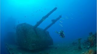 Buzo nada al lado de un buque de guerra hundido