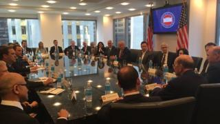 Donald Trump appears with more than a dozen American technology leaders at a meeting at Trump Tower.