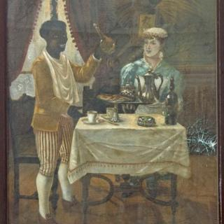 La peinture sur toile représentant un homme noir debout, serviteur ou esclave, et une dame blanche de la haute société, va être enlevée du 14 rue Mouffetard pour être rénovée puis exposée au musée Carnavalet (musée de la Ville de Paris).