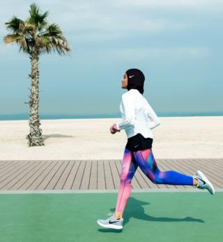 "Manal Rostom jogs wearing Nike""s new hijab for Muslim female athletes."