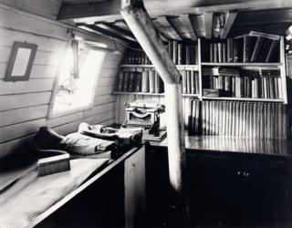 Bookshelves in Shackleton's cabin on Endurance, 1915