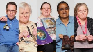 L-R: Dave Lloyd, Ros Mountjoy, Marie Alderman, Wendy Enfields and Geri Stephenson who all feature in an exhibition that explores the importance of possessions for people with autism and learning disabilities.