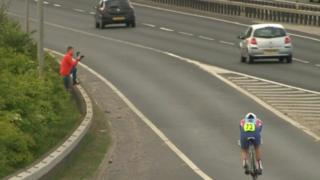 Cyclist on A63