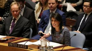 Đại sứ của Hoa Kỳ tại UN Nikki Haley tại cuộc họp của Hội đồng Bảo an Liên Hiệp Quốc hôm 22/12