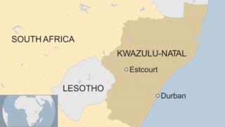 A map showing Estcourt, KwaZulu-Natal
