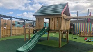 A slide in the new play park