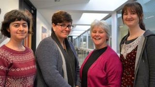Members of the Lovelace Colloquium (l-r), Dr Amanda Clare, Dr Hannah Dee, Dr Edel Sherrat and Dr Helen Miles