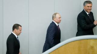 Дмитрий Медведев, Владимир Путин и Вячеслав Володин