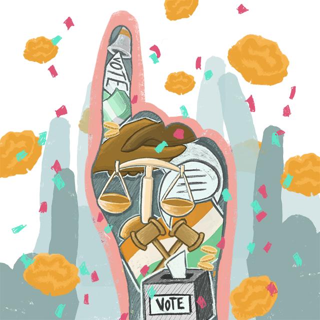 Ilustração mostra diferentes elementos representando a eleição, como uma balança da Justiça, um dedo em riste e bandeira indiana