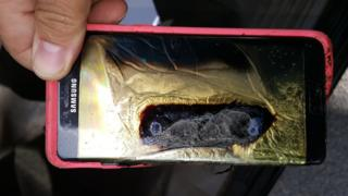 A Samsung Note that had caught fire