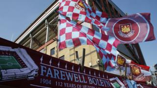 West Ham flags outside the Boleyn Ground before a match