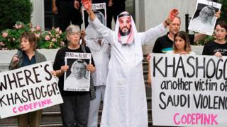 Demonstrators protest outside the Saudi embassy in Washington DC, 8 October 2018