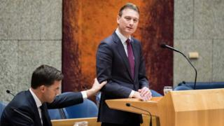 Dutch Minister of Foreign Affairs Halbe Zijlstra (R) and Dutch prime minister Mark Rutte (L) after Zijlstra announced his resignation in the Dutch parliament De Tweede Kamer in The Hague, Netherlands, on 13 February 2018.