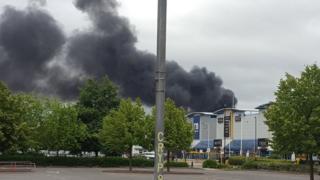 Smoke seen over industrial park