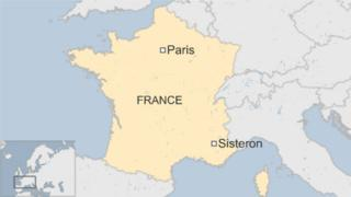 map of France showing Paris in the north and Sisteron in the south