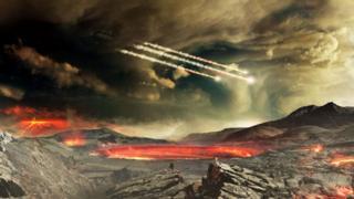 Ilustração de meteoritos bombardeando a Terra