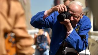 Bill Cunningham at work during a Ralph Lauren Spring show