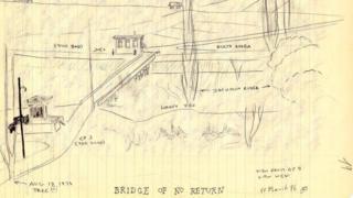 毕尔博1976年画的非军事区草图,横在南北朝鲜中间的不归桥。
