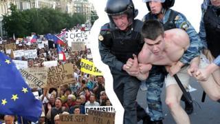 Как проходят протесты в Чехии и в России?