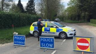 Police at the scene in Pulham Market, Norfolk,