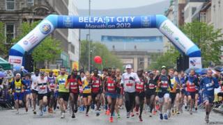 The start of Belfast City Marathon in 2012