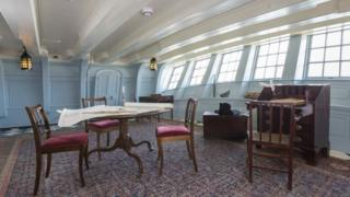 Lord Nelson's Great Cabin after being restored to its Georgian heyday