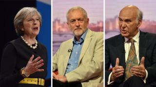 Theresa May, Jeremy Corbyn, Vince Cable