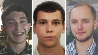 Jack Gilbert, 23, Alberto Fresneda Carrasco, 19, and Harrison Scott-Hood, 23