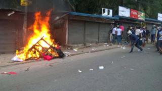Violence in Kandy on Monday