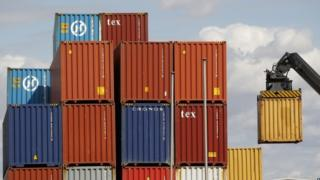 Containers being unloaded at Tilbury docks