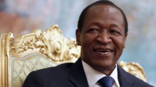 Blaise Compaoré, en sourire, le 13 janvier 2013 à Ouagadougou au palais présidentiel