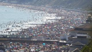 Crowds flocked to the beach in Bournemouth