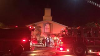 Fire trucks at the mosque