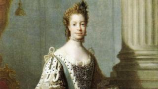 Retrato de 1762 da rainha Charlotte, feito por Alam Ramsay