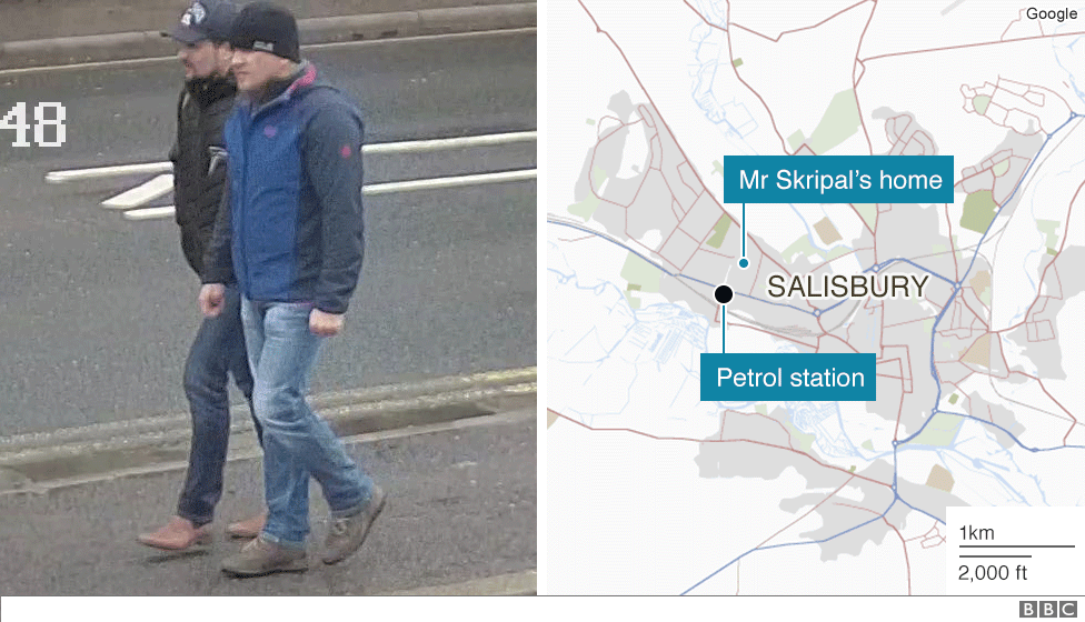 Suspects near a Shell petrol station not far from Mt Skripal's home