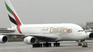 Emirates flight at Delhi airport