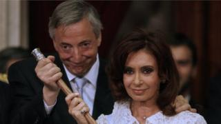 Cristina Fernandez de Kirchner takes over the Argentine presidency from her husband Nestor Kirchner during the swearing-in ceremony in Buenos Aires on 10 December, 2007