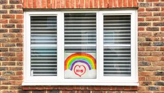 A homemade drawing of a rainbow for the NHS in a window in Aylesbury - 8 April 2020