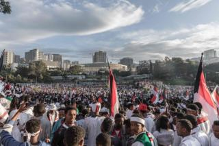 Crowds in Meskel Square in Addis Ababa