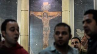 爆破攻撃にあったコプト派の教会(9日、エジプト・タンタ)