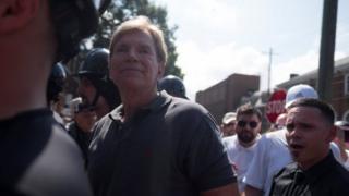12日の極右集会には、白人至上主義者として名高いデイビッド・デューク氏も参加した(米バージニア州シャーロッツビル)