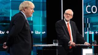 Boris Johnson agus Jeremy Corbyn